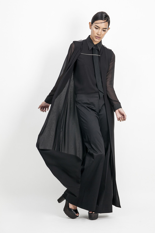 Cihuah C09#08 TRANSPARENT LONG CARDIGAN WITH SILVER CHAIN