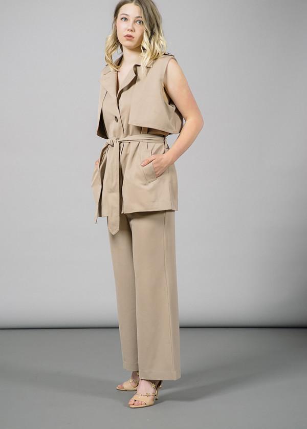 Ganni Brown Trench Detail Waistcoat