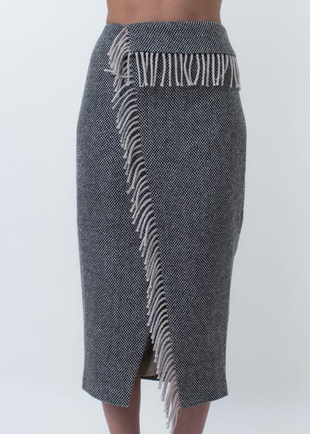 Nanushka Lake Fringe Wrap Pencil Skirt