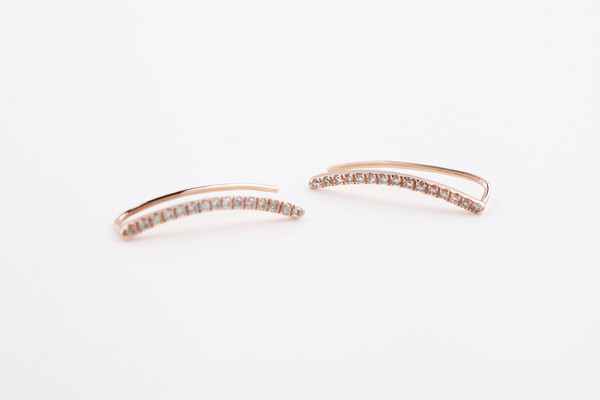 Pave Thin Staple Earrings