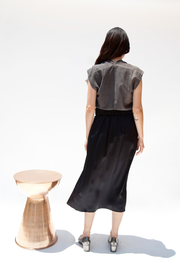 Miranda Bennett Paper Bag Skirt, Silk Charmeuse in Black