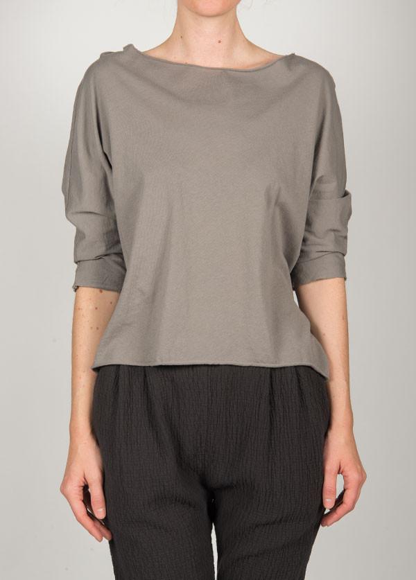 Black Crane - Short Sleeve Wide Crew in Grey