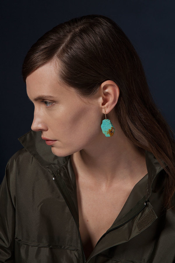 Kathleen Whitaker Sleeping Beauty Turquoise Slice Earrings