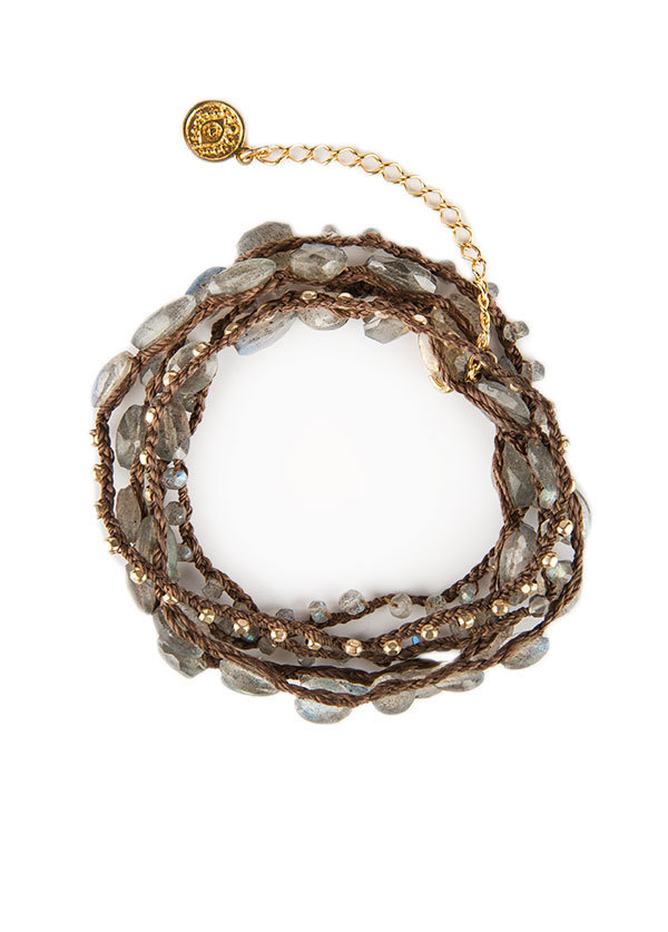 Blee Inara Semi-Precious and Gold Plated Beaded Wrap in Labradorite
