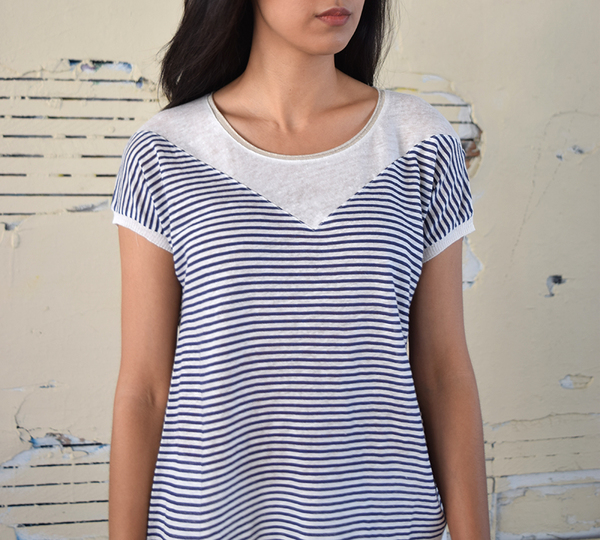 Yerse Striped V Tee