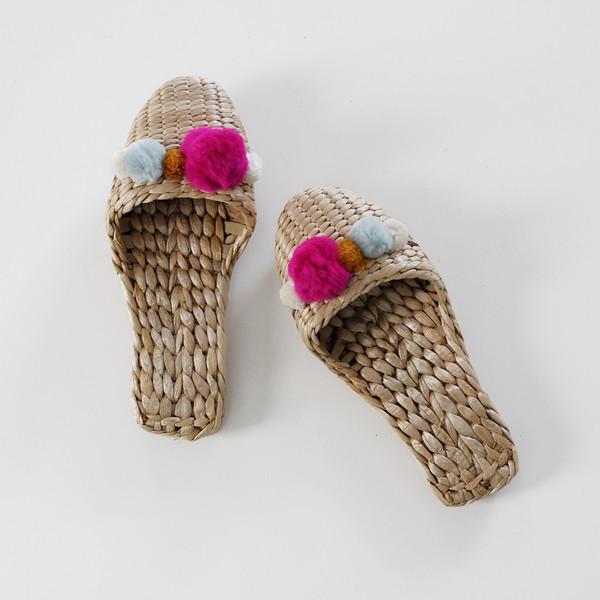 Fairy Fortune Handwoven Pom Pom House Slippers