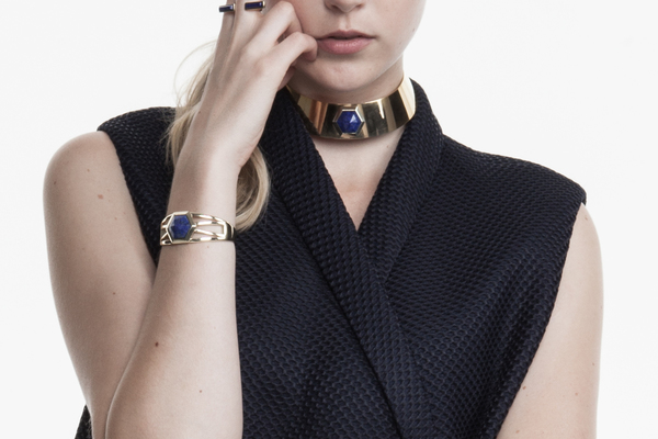 Shahla Karimi Hex Set Choker with Lapis