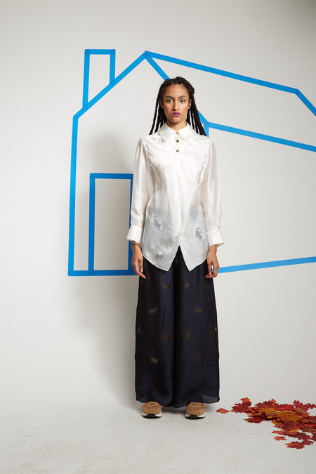 Steven Tai Devoré Floor Length Trousers