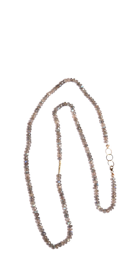 James and Jezebelle Labradorite with Gold Beads Necklace