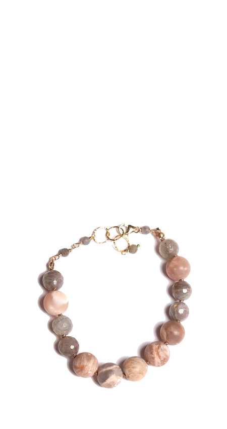 James and Jezebelle Pink Moonstone and Labradorite Bracelet