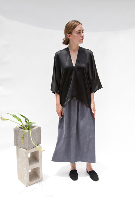Miranda Bennett In-Stock: Muse Top, Silk Charmeuse in Black