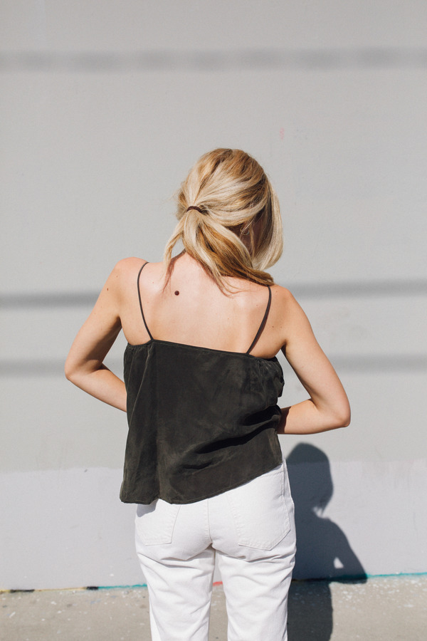 Objects Without Meaning Twist Lounge Tank, Olive