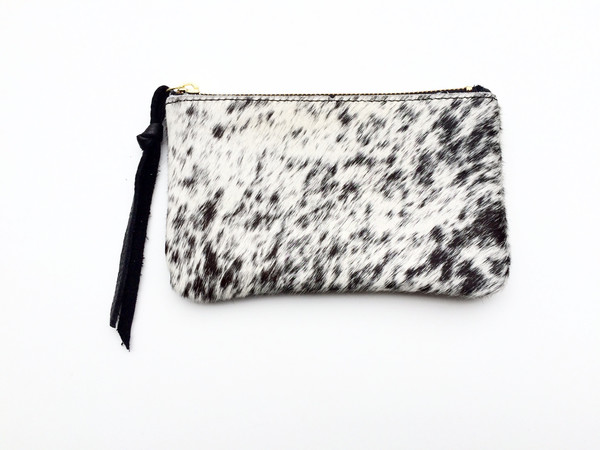 OLIVEVE binky change purse in black and white natural hair calf