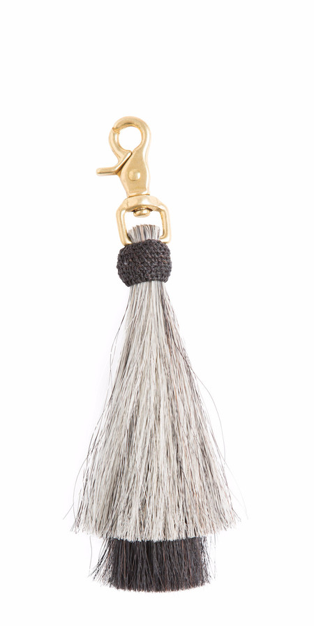 OLIVEVE grey/black double bell horse hair tassel on brass clip