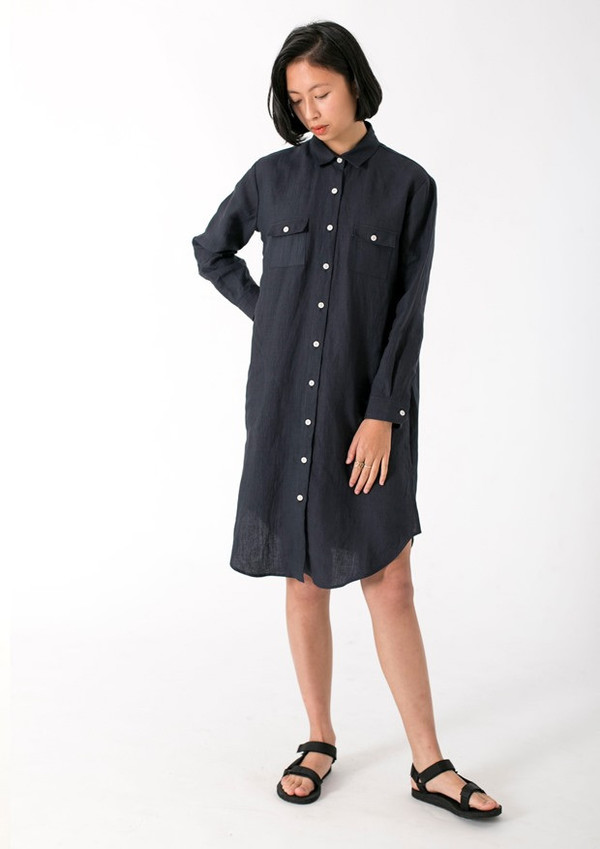 GOOD STUDIOS WOMENS HEMP LINEN CLASSIC COLLAR SHIRTDRESS