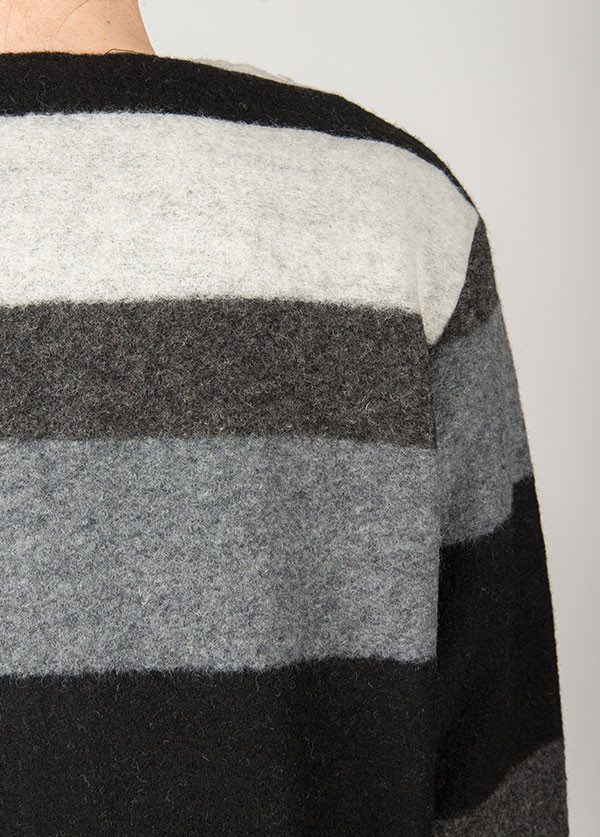 Line Knitwear - The Landmark in Charcoal Stripe