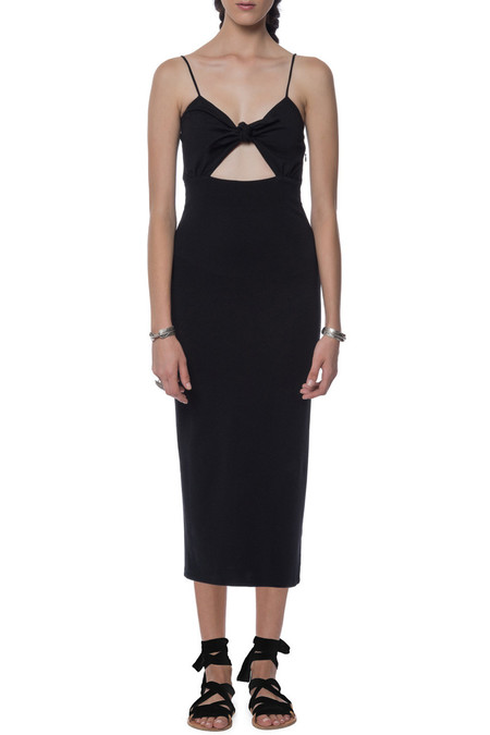 mara hoffman black tie front dress