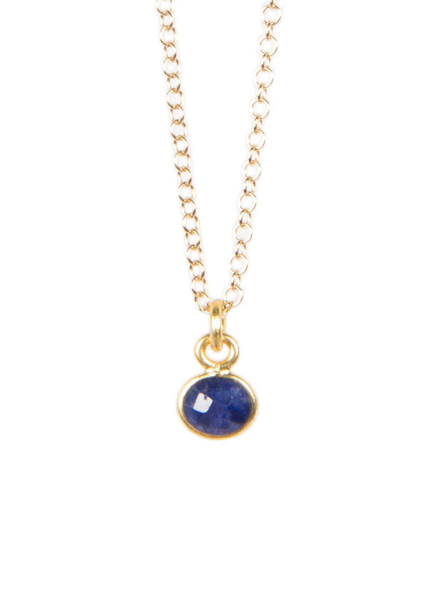 Lisbeth - Tiny Stone Necklace in Grey Moonstone or Lapis