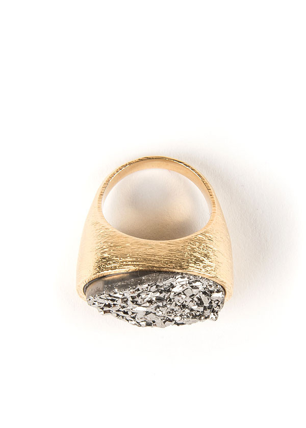 Marcia Moran - Horizontal Oval Ring in Gold with Titanium Druzy Stone