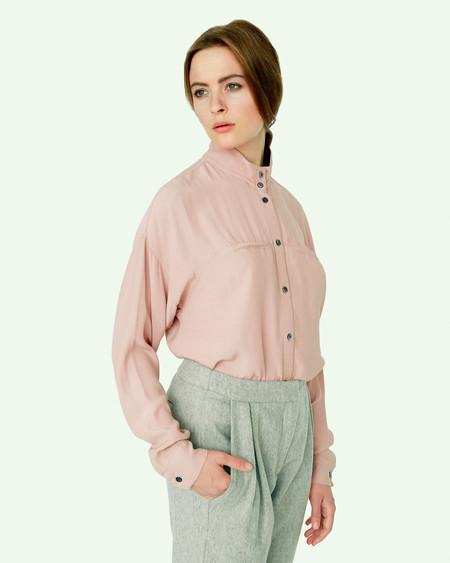 Suzanne Rae Mandarin Collar Blouse