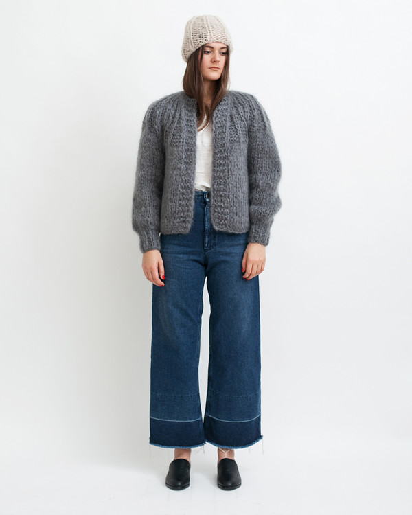 Maiami Mohair Pleated Short Cardigan