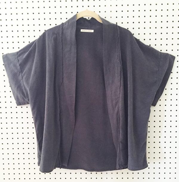 Black Crane Kimono Jacket - Midnight
