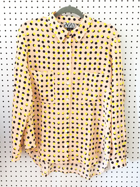 Dusen Dusen Button Up - Peach Double Dot