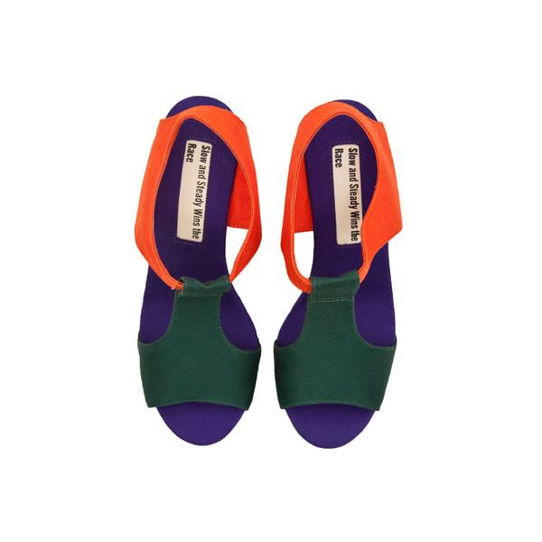 Wedge Sandal - Orange, Green, Purple