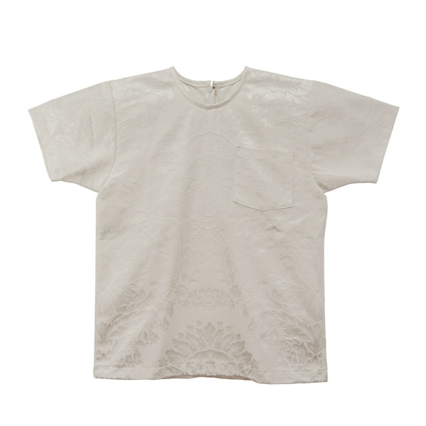 White T-Shirt in Damask