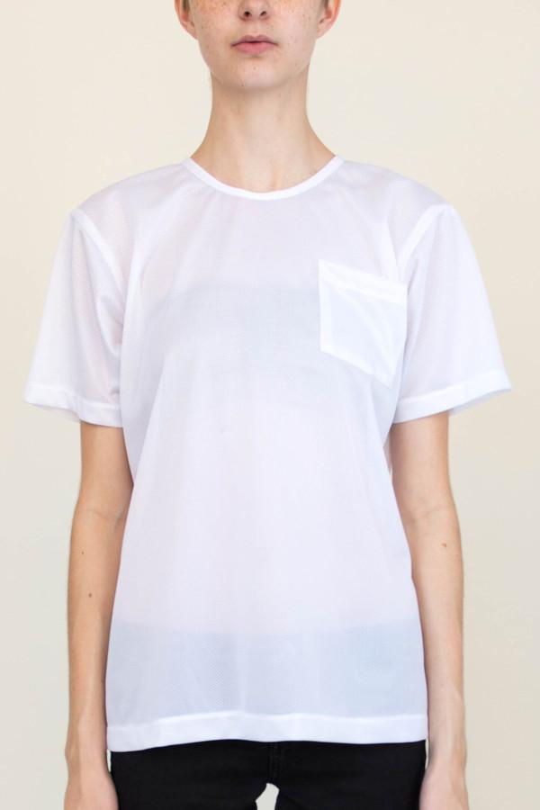White T-Shirt in Mesh