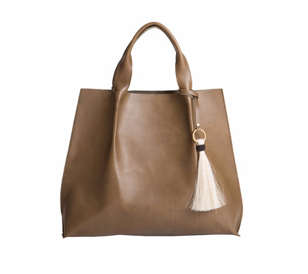 Oliveve Maggie Tote In Olive Saddle Leather With Horsehair Tassel