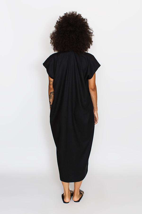Miranda Bennett Everyday Dress, Oversized, Silk Noil in Black