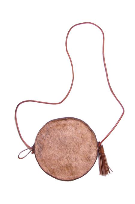 Minnie + George Circle Cross Body Bag in Calf Hair Brown