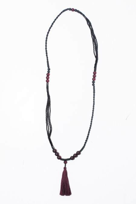 Ora-C Zon Mixed Red Bead Tassel Necklace