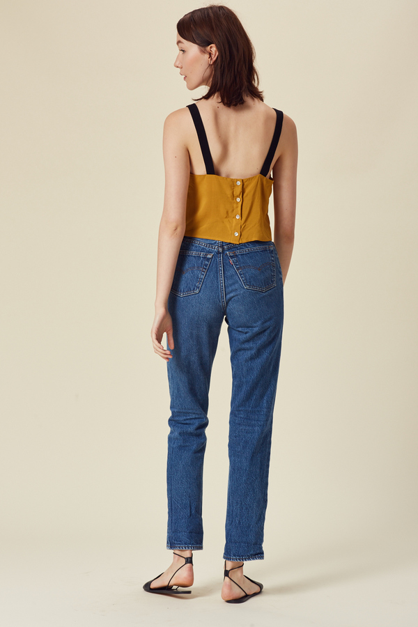 Stil. Colorblock Crop Top in Mustard