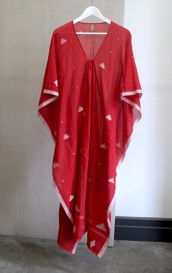 Two New York Red Khadi Caftan with white icons