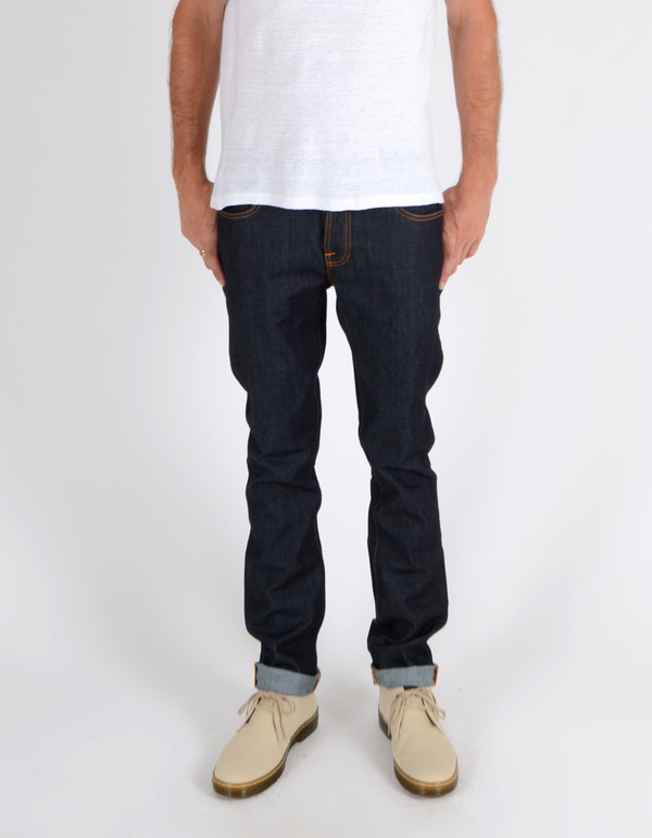Men's Nudie Grim Tim Organic Dry Navy