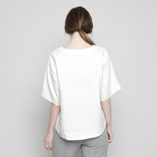 7115 by Szeki Relaxed Boat-Neck Top Off-White FW16