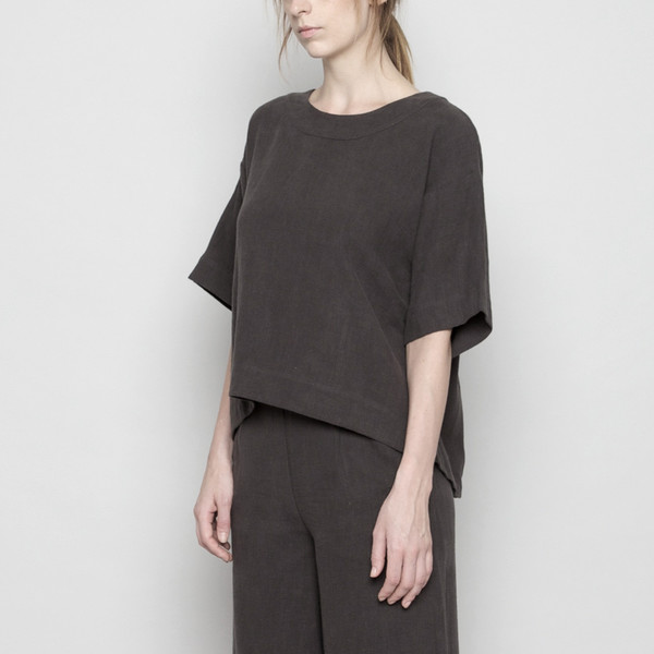 7115 by Szeki Relaxed Boat-Neck Top- Grey FW16