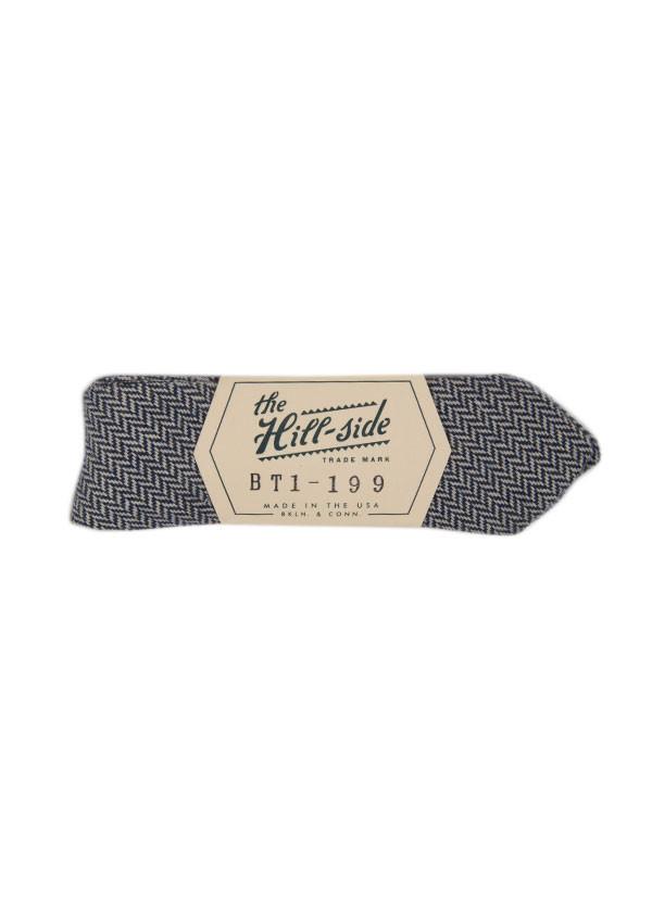 The Hill-Side - Brushed Mini Herringbone Bow Tie, Blue, Grey and White