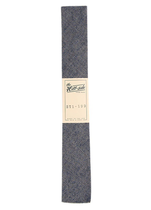 The Hill-Side - Brushed Mini Herringbone Necktie, Blue, Grey and White