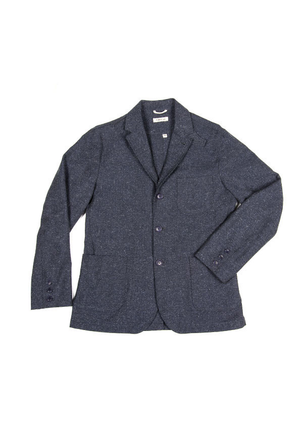 The Hill-Side - Cotton Herringbone Tweed Tailored Jacket, Navy