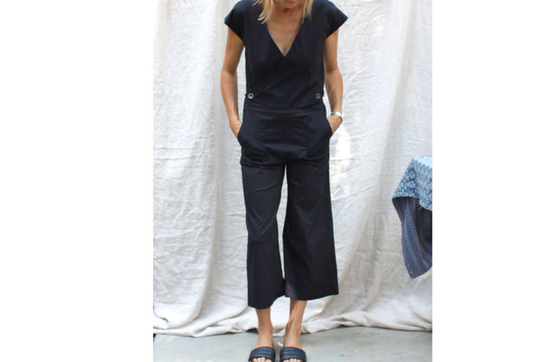 Unknown Atacama Jumpsuit in Blue Black Poplin