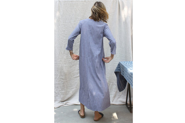 Tangier Dress in Blue Souk Stripe