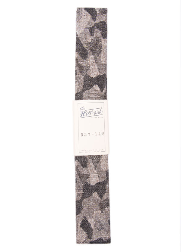 The Hill-Side - Jacquard Woven Fuzzy Nordic Camouflage Tie in Grey