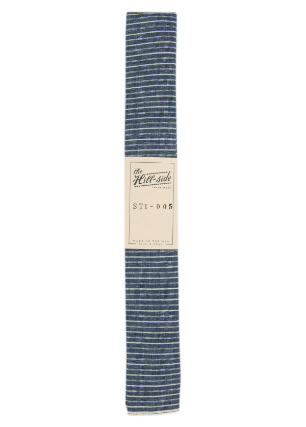 The Hill-Side - Selvedge Chambray Necktie, Indigo and White Stripe