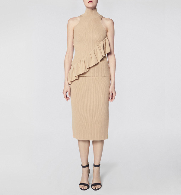 Ryan Roche Skirt Camel