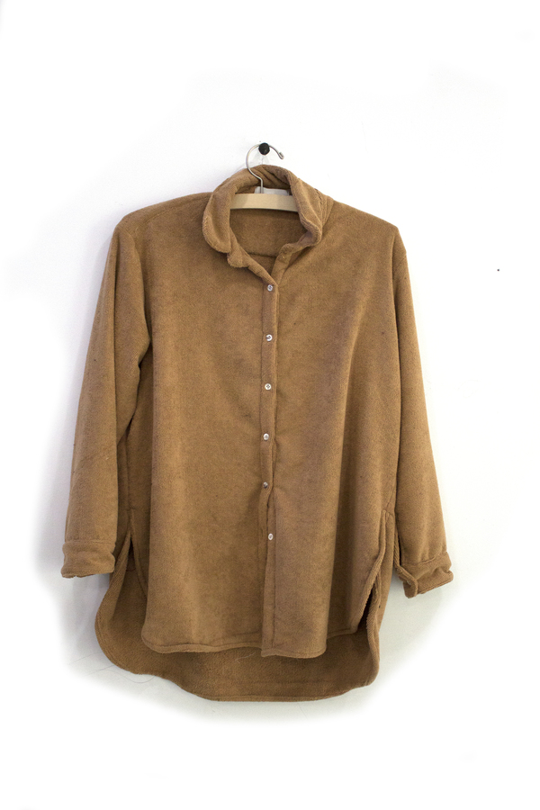 Priory Buttondown Terry Camel - Sample