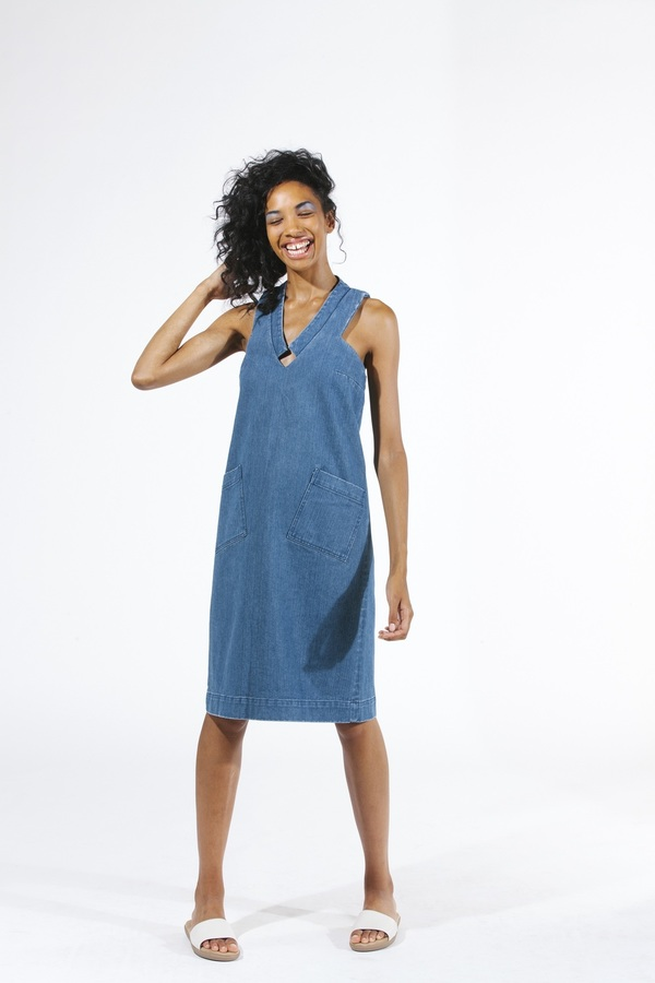 Carleen Diamond Neck Dress - Blue