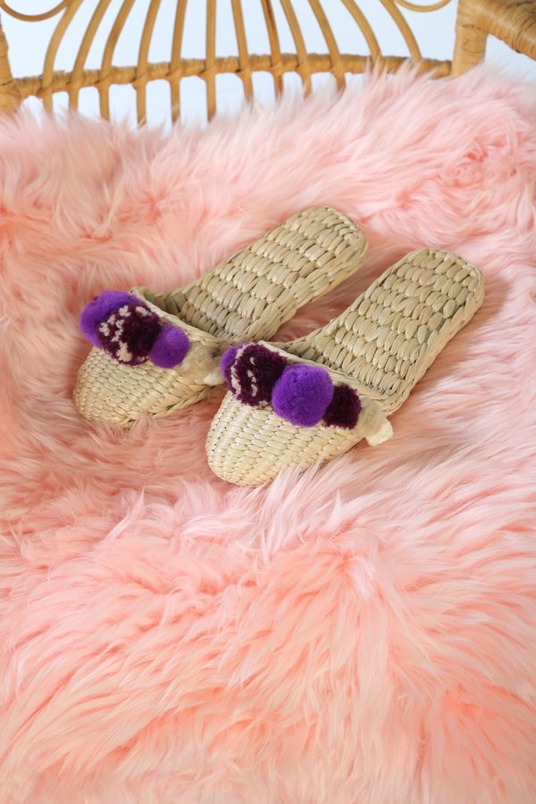 Folk Fortune taupe and plum pom pom slippers